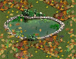 Use weather (like swirling Fall leaves shown here) to add a realistic charm to your yard!