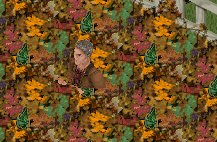 In a leaf pile....